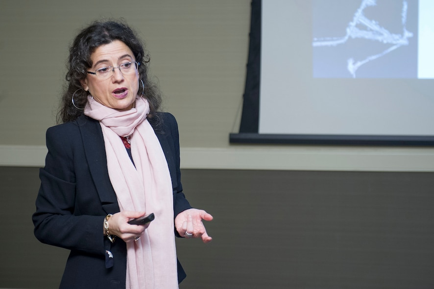Mónica Groba López, the Secretary General of the National Geographic Institute headquartered in Madrid, Spain, speaks to a group of attendees at the Women in Science and Engineering Symposium Feb. 8, 2018, which was hosted by the Air Force Technical Applications Center, Patrick AFB, Fla.  Lopez was one of many high-profile women who were invited to deliver messages on gender and diversity efforts within STEM. (U.S. Air Force photo by Phillip C. Sunkel IV)