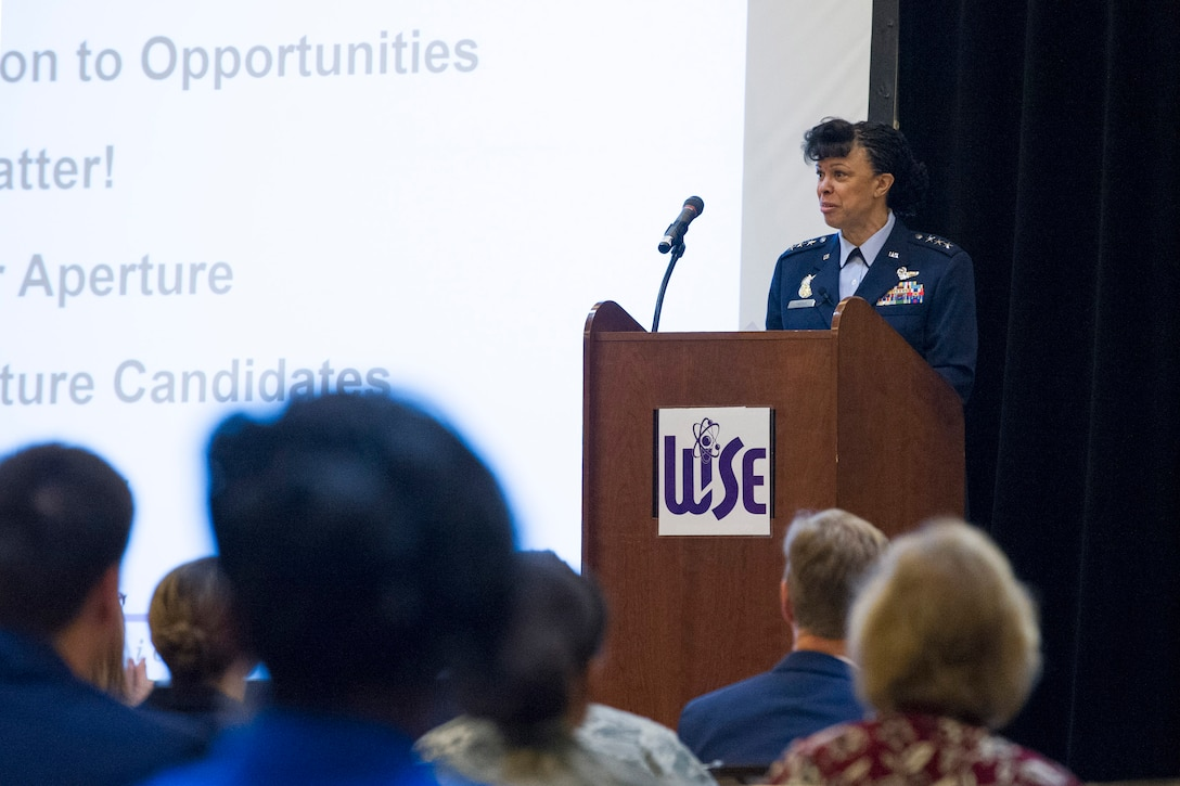 Lt. Gen. Stayce Harris, the Inspector General of the U.S. Air Force, discusses discipline, leadership and teamwork with attendees at the 2018 Women in Science and Engineering Symposium Feb. 8, 2018.  Harris was a keynote speaker at the event that focused on encouraging mentorship and networking opportunities for those interested in pursuing and excelling in STEM careers. (U.S. Air Force photo by Ian Bush)