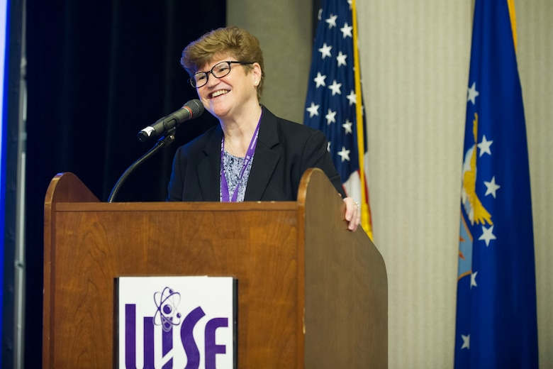 Gen. Janet Wolfenbarger, U.S. Air Force retired, delivers her speech about the huge strides women have made in leadership roles during the 2018 Women in Science and Engineering Symposium Feb. 7, 2018.  Wolfenbarger was one of many high profile women who spoke at the symposium hosted by the Air Force Technical Applications Center, Patrick AFB, Fla.  (U.S. Air Force photo by Phillip C. Sunkel IV)
