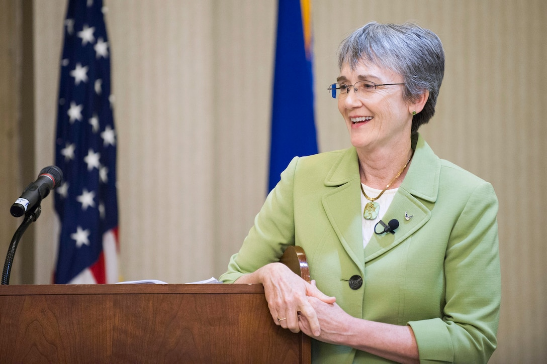 Secretary of the Air Force Heather Wilson gives the keynote address at the 2018 Women in Science and Engineering Symposium, hosted by the Air Force Technical Applications Center, Patrick AFB, Fla., Feb. 8, 2018.  Wilson was one of many high profile women who spoke to symposium attendees about the value that gender diversity brings to the science, technology, engineering and mathematics workforce.  (U.S. Air Force photo by Phillip C. Sunkel IV)