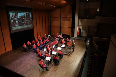 "On Feb. 11, 2018, the Marine Chamber Orchestra presented a Living History concert titled ""From the Grand Foyer: The Soundtrack of the White House"" at the Schlesinger Concert Hall and Arts Center in Alexandria, Va. (U.S. Marine Corps photo by Master Sgt. Amanda Simmons/released)"