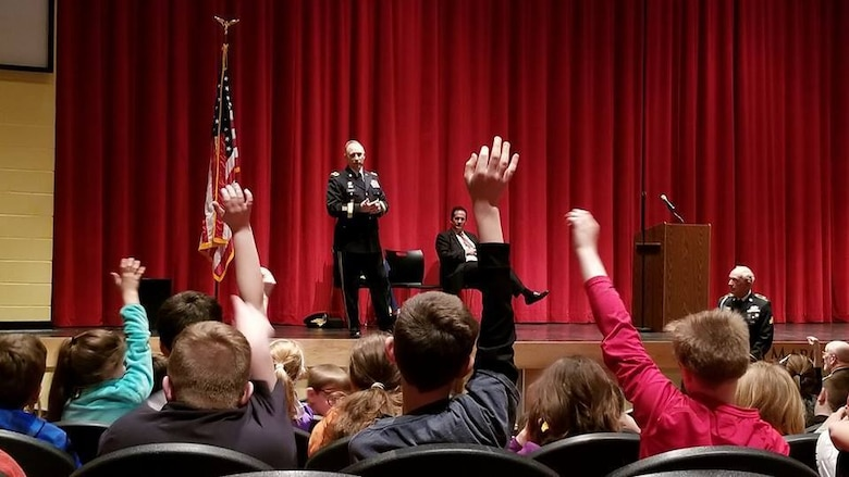Major Gen. Patrick Reinert, 88th Readiness Division commanding general, visits Three Rivers Educational Campus and answers questions from students of Taylor Middle School after a ceremony honoring the 245th birthday of our 9th President, William Henry Harrison, Feb 9, in North Bend, Ohio.