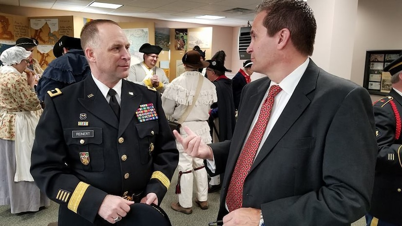 Major Gen. Patrick Reinert, 88th Readiness Division commanding general, speaks with Doug Sammons, mayor of the Village of North Bend, before a ceremony honoring the 245th birthday of our 9th President, William Henry Harrison, Feb. 9, in North Bend, Ohio.