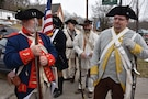 The Sons and Daughters of the American Revolution prepare to march in a procession honoring the 245th birthday of our 9th President, William Henry Harrison, Feb. 9, in North Bend, Ohio.
