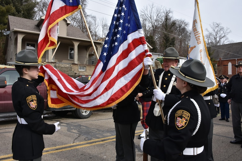 The Village of North Bend Deputy Sheriff's Honor Guard prepares to march during a ceremony honoring the 245th birthday of our 9th President, William Henry Harrison, Feb. 9, in North Bend, Ohio.