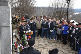 Major Gen. Patrick Reinert, 88th Readiness Division commanding general, speaks to a crowd of local officials, citizens and students from the Three Rivers Educational Campus during a ceremony honoring the 245th birthday of our 9th President, William Henry Harrison, Feb. 9, in North Bend, Ohio.