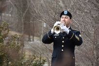 U.S Army Reserve Staff Sgt. Jeff Hotz plays during a ceremony honoring the 245th birthday of our 9th President, William Henry Harrison, Feb. 9, in North Bend, Ohio.