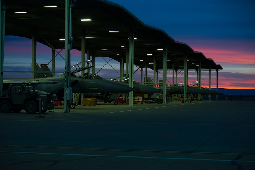 An image of F-15E Strike Eagles sit on the flightline during an exercise, Feb. 8, 2018, at Mountain Home Air Force Base, Idaho. The exercise focused on training for potential real world contingencies. (U.S. Air Force photo by Airman 1st Class Jeremy D. Wolff)
