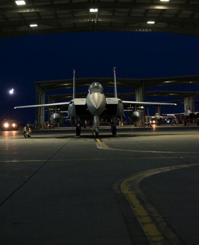 Image of an F-15E Strike Eagle prepares to taxi during an exercise Feb. 8, 2018, at Mountain Home Air Force Base, Idaho. The exercise focused on training for potential real world contingencies. (U.S. Air Force photo by Airman 1st Class Jeremy D. Wolff)