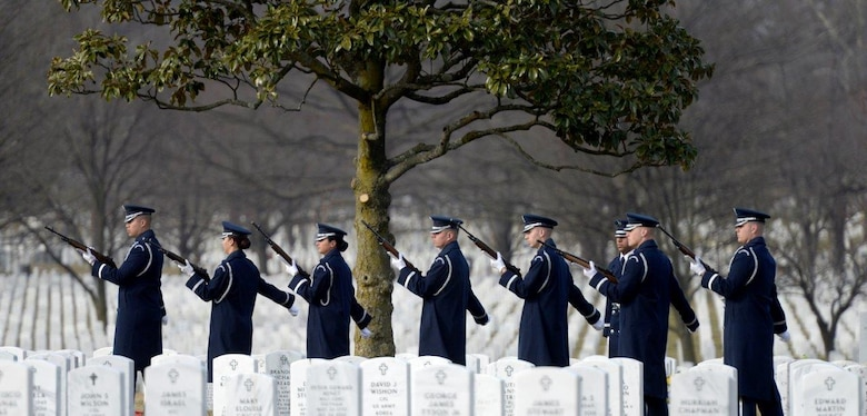 Ceremonial Guardsmen prepare to fire a volley during the full honors funeral ceremony for retired Col. Leo Thorsness at Arlington National Cemetery, Arlington, Va., Feb. 14, 2018. Thorsness was a Vietnam prisoner of war and Medal of Honor recipient who served 23 years in the Air Force. (U.S. Air Force photo by Staff Sgt. Rusty Frank)
