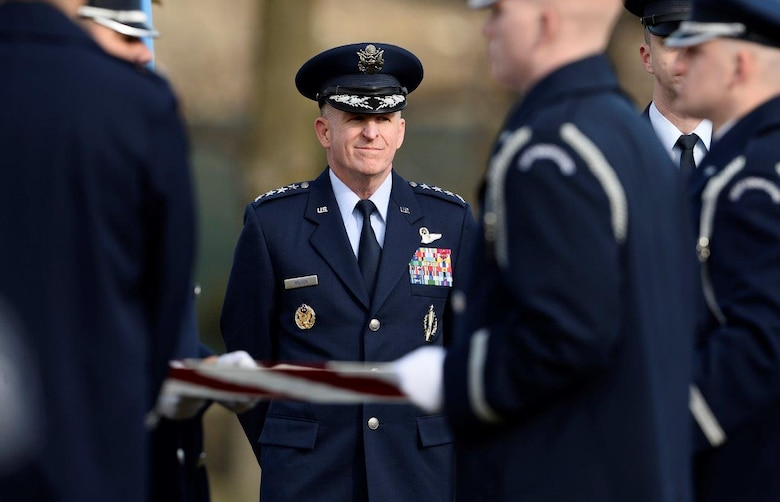 Air Force Vice Chief of Staff Gen. Stephen Wilson watches the full honors funeral ceremony for retired Col. Leo Thorsness at Arlington National Cemetery, Arlington, Va., Feb. 14, 2018. Thorsness received the Medal of Honor for his heroic actions during the Vietnam War. (U.S. Air Force photo by Staff Sgt. Chad Trujillo)