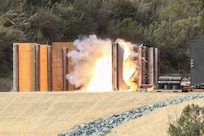 Camp Pendleton hosted Naval Surface Warfare Center Corona's range systems department for explosive breach testing on Jan. 30, 2018. The explosive breach test was conducted to evaluate a new rail system that will be used as a training aid for Marine Corps Special Operations Command to set up multiple different scenarios for door breaching simulations