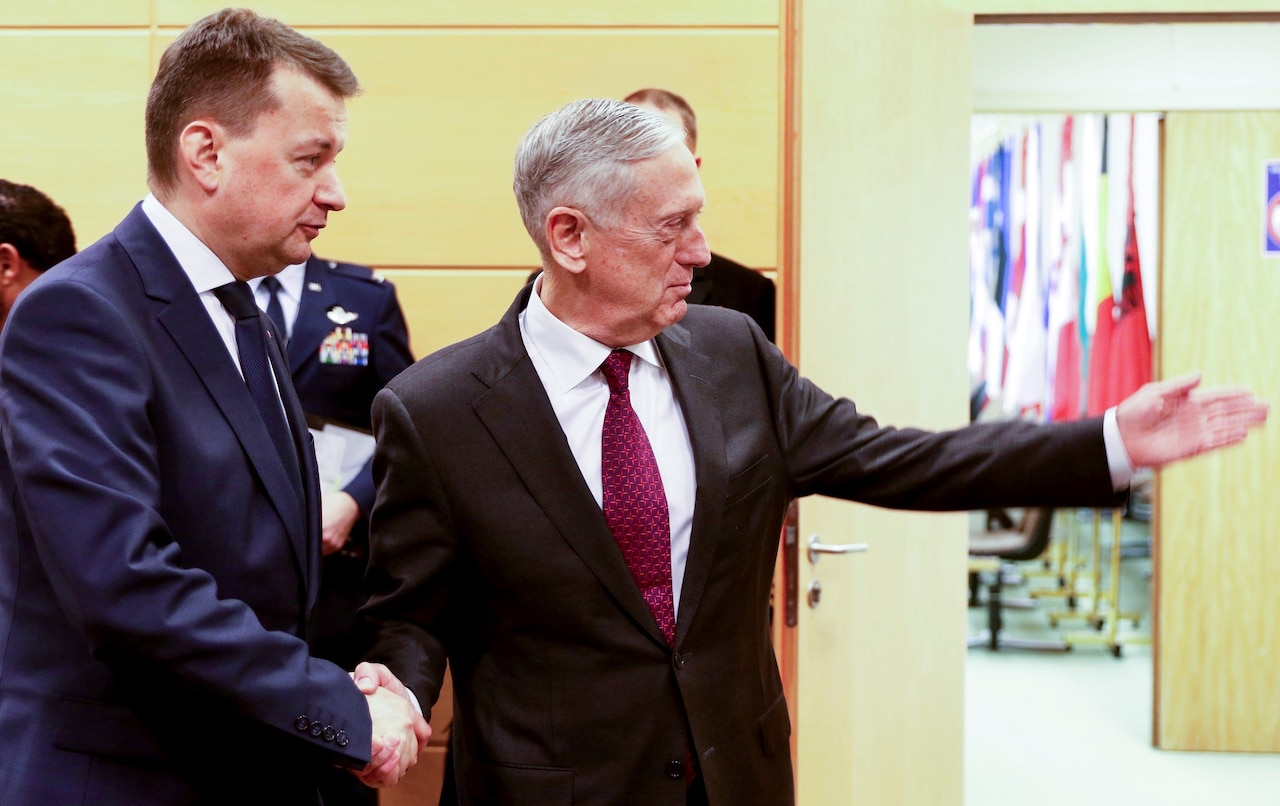 Polish defense minister and U.S. defense secretary meet in Brussels.