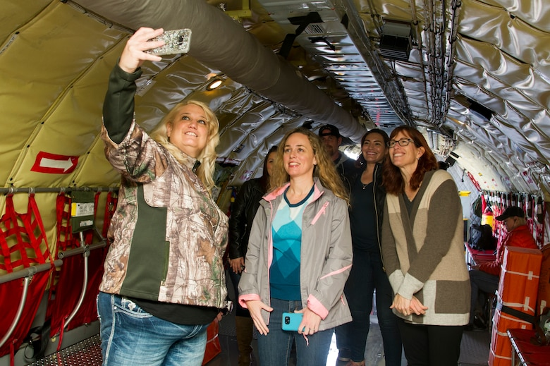 Spouses of 940th Air Refueling Wing members take a selfie on a KC-135 Stratotanker Feb. 10 at Beale Air Force Base, California.
