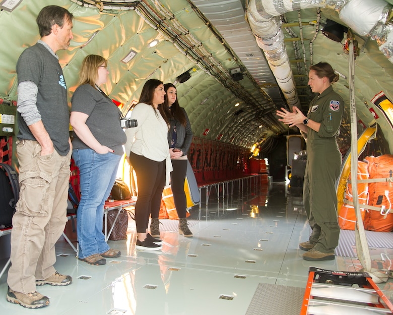 Staff Sgt. Amy Zemaitis, 314th Air Refueling Squadron boom operator, gives a safety briefing to wing spouses Feb. 10 at Beale Air Force Base, California.