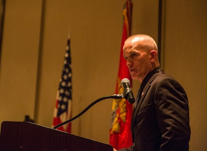 Sgt. Maj. Bradley Kasal, sergeant major, I Marine Expeditionary Force, speaks at the West Coast Senior Enlisted Professional Dinner at Valley Center, Calif., Feb. 8, 2018.