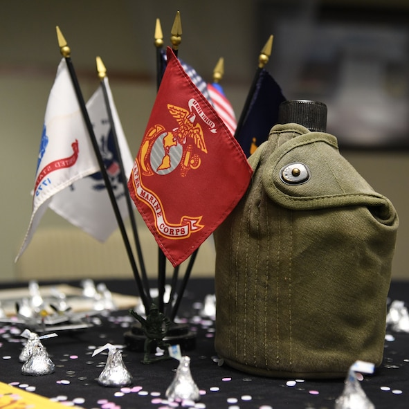 A military-themed centerpiece decorates a table during a Valentine's Day dance held at the George E. Wahlen Veterans Home in Ogden, Utah, Feb. 14, 2018. (U.S. Air Force photo by R. Nial Bradshaw)