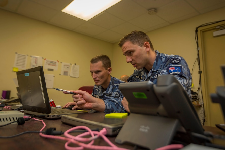 Corporal Kevin Fanias (Left) and Leading Aircraftman Thomas Butler from Number 1 Combat Communications Squadron at Nellis Air Force Base, Nevada, during Exercise Red Flag 18-1.(Courtesy Photo)