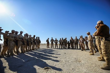 BAHRAIN (Jan. 14, 2018)  A Bahrain Defense Force soldier interprets instructions from U.S. Marines attached to Fleet Anti-terrorism Security Team, Central Command, a subordinate command of Naval Amphibious Force, Task Force 51, 5th Marine Expeditionary Brigade – TF 51/5, prior to conducting close quarters battle training. TF 51/5 staff frequently participates in subject matter expert exchange opportunities with partner nations to share expertise in respective fields and build upon partner nation capabilities in order to increase regional stability and improve interoperability. (U.S. Marine Corps photo by Sgt. Wesley Timm/Released)