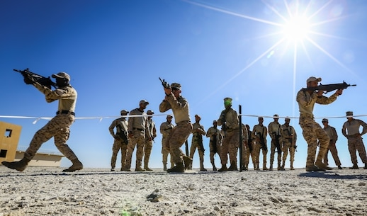 BAHRAIN (Jan. 14, 2018)  U.S. Marine Corps riflemen attached to Fleet Anti-terrorism Security Team, Central Command, a subordinate command of Naval Amphibious Force, Task Force 51, 5th Marine Expeditionary Brigade – TF 51/5, demonstrate close quarters battle training to Bahrain Defense Force soldiers. TF 51/5 staff frequently participates in subject matter expert exchange opportunities with partner nations to share expertise in respective fields and build upon partner nation capabilities in order to increase regional stability and improve interoperability. (U.S. Marine Corps photo by Sgt. Wesley Timm/Released)