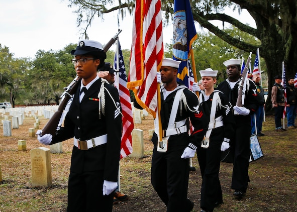 The Color Guard marches on the colors during a headstone unveiling at the Beaufort National Cemetery, Feb. 10.