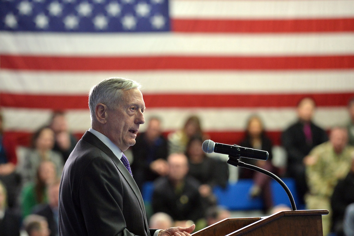 Defense Secretary James N. Mattis speaks to military and civilian personnel in Germany.