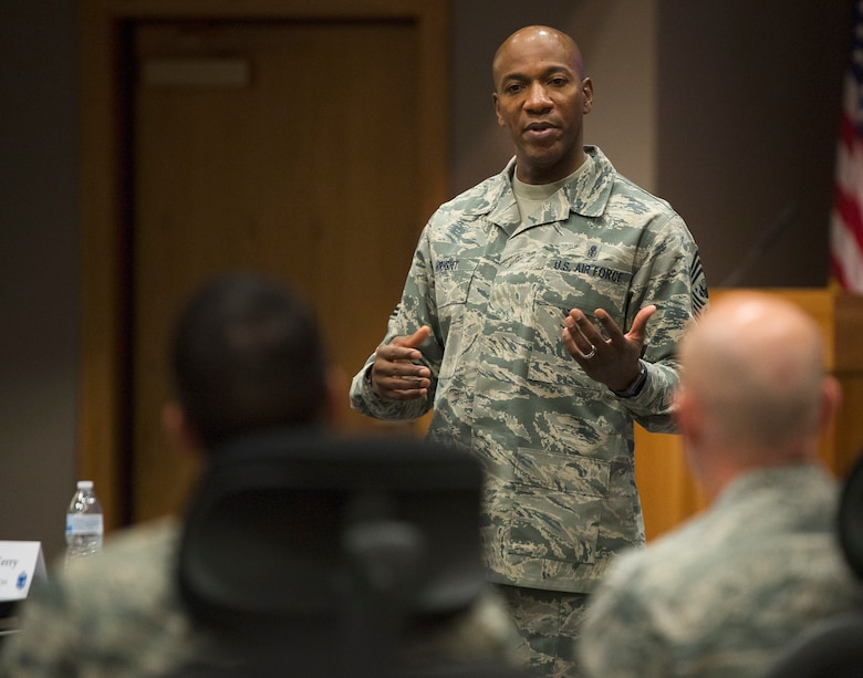 Chief Master Sgt. of the Air Force Kaleth O. Wright answers questions during the Air Force Materiel Command's Chief Orientation Course