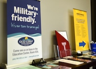 Informational brochures from three schools line a table in the education office at Tyndall Air Force Base, Fla., Feb. 14, 2018. The Tyndall Education Office is partnered with Gulf Coast State College, Troy University and Embry-Riddle Aeronautical University by offering on-base programs to better aid Airmen in pursuing their education desires. (U.S. Air Force photo by Airman 1st Class Isaiah J. Soliz/Released)