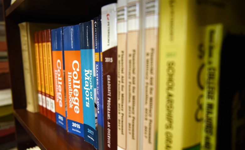 College textbooks are organized on a bookshelf in the education office at Tyndall Air Force Base, Fla., Feb. 14, 2018. The Tyndall Education office is designed to support Airmen in their efforts to further their education. (U.S. Air Force photo by Airman 1st Class Isaiah J. Soliz/Released)
