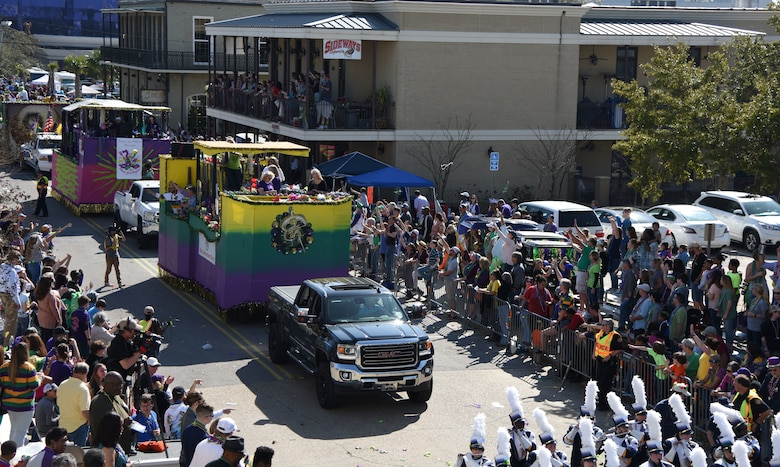 Floats ride through Biloxi during the Gulf Coast Carnival Association Mardi Gras parade Feb. 13, 2018, in Biloxi, Mississippi. Keesler personnel participate in local parades every Mardi Gras season to show their support of the communities surrounding the installation. (U.S. Air Force photo by Kemberly Groue)