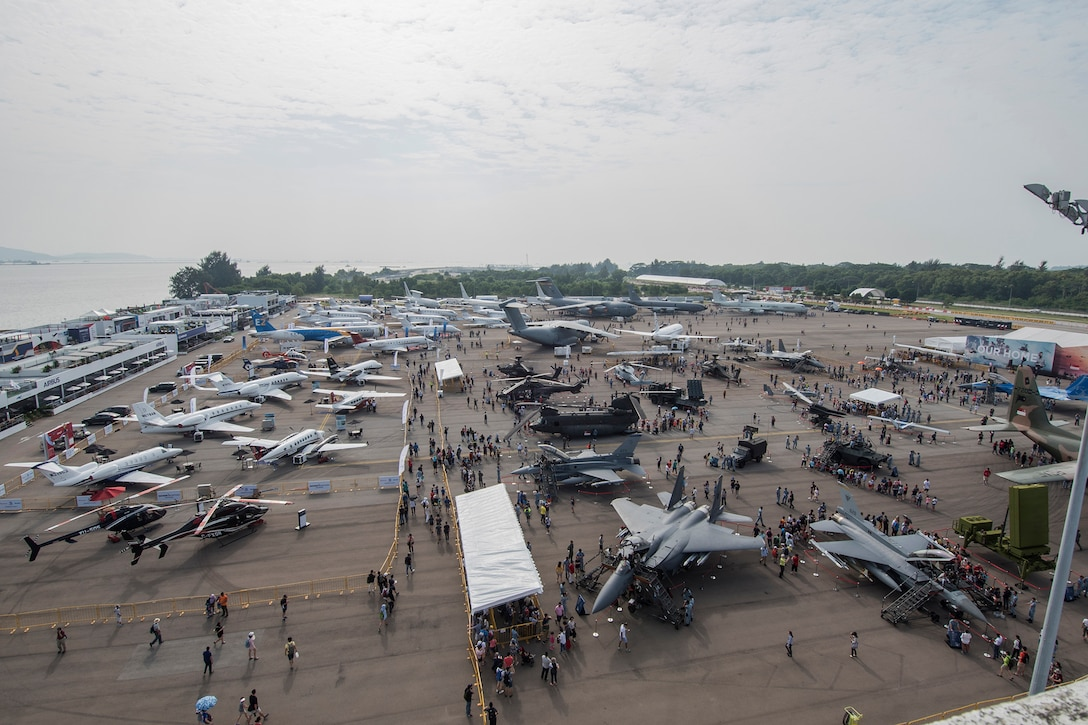 Aircraft sit on display during the Singapore International Airshow 2018, Feb. 10, 2018. Approximately 100,000 attended the airshow and had the opportunity to see multiple aircraft displays and aerial demonstrations by several countries.