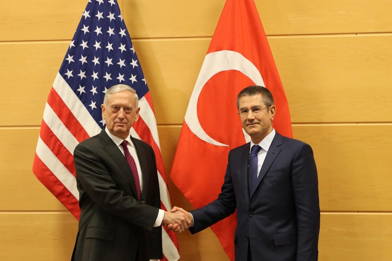 U.S. defense secretary and Turkish defense minister meet in Brussels.