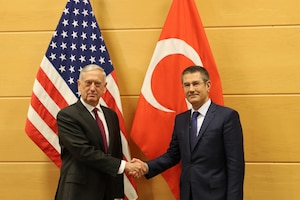 U.S. defense secretary and Turkish defense minister meet in Brussels.