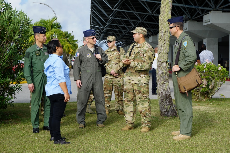 U.S. Air Force (USAF) Lt. Col. Jeremiah Castillo, 36th Mobility Response Squadron USAF director of operations, discuss humanitarian assistance/disaster relief (HA/DR) training with three COPE NORTH 2018 exercise directors, Feb. 13. This year's COPE NORTH is an annual Pacific Air Forces tri-lateral HA/DR exercise with participants from the USAF, U.S. Navy, U.S. Marine Corps, Koku Jieitai (Japan Air Self-Defense Force), and Royal Australian Air Force. COPE NORTH is a model opportunity for expanding engagements with the Commonwealth of the Northern Mariana Islands. (U.S. Air Force photo by Capt. James Moore)