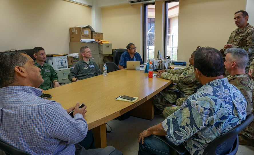U.S. Air Force (USAF) Lt. Col. Jeremiah Castillo, 36th Mobility Response Squadron USAF director of operations, discusses humanitarian assistance/disaster relief (HA/DR) training with three COPE NORTH 2018 exercise directors and Tinian civil leaders and airport officials, Feb. 13. This year's COPE NORTH is an annual Pacific Air Forces tri-lateral HA/DR exercise with participants from the USAF, U.S. Navy, U.S. Marine Corps, Koku Jieitai (Japan Air Self-Defense Force), and Royal Australian Air Force. COPE NORTH is a model opportunity for expanding engagements with the Commonwealth of the Northern Mariana Islands.(U.S. Air Force photo by Capt. James Moore)
