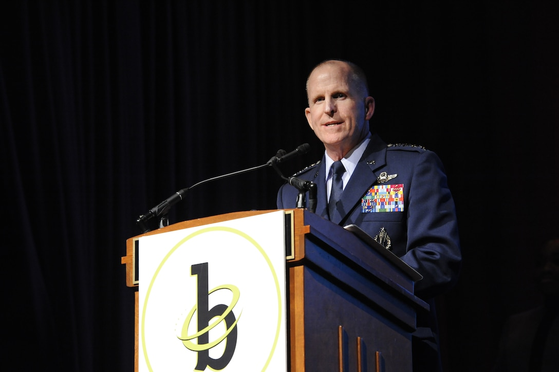 Vice Chief of Staff of the Air Force Gen. Stephen Wilson introduces Black Engineer of the Year recipient Maj. Brendan O'Neal during the 32nd BEYA Science, Technology, Engineering and Mathematics Global Competitiveness Conference Feb. 9, 2018, in Washington, D.C.  The Black Engineer of the Year Award recognizes African Americans with exceptional career gains in various vocations of STEM career fields. (U.S. Air Force photo by Tech. Sgt. Robert Barnett)