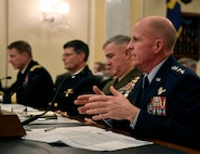 Air Force Vice Chief of Staff Gen. Stephen Wilson speaks to the Senate Armed Services Committee in Washington, D.C., Feb. 14, 2018.  Wilson and other members of the panel discussed the readiness of the Armed Forces. (U.S. Air Force photo by Wayne A. Clark)