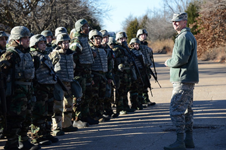 AFMC Deputy Commander Warren Berry speaks to troops at Tinker Air Force Base, Oklahoma