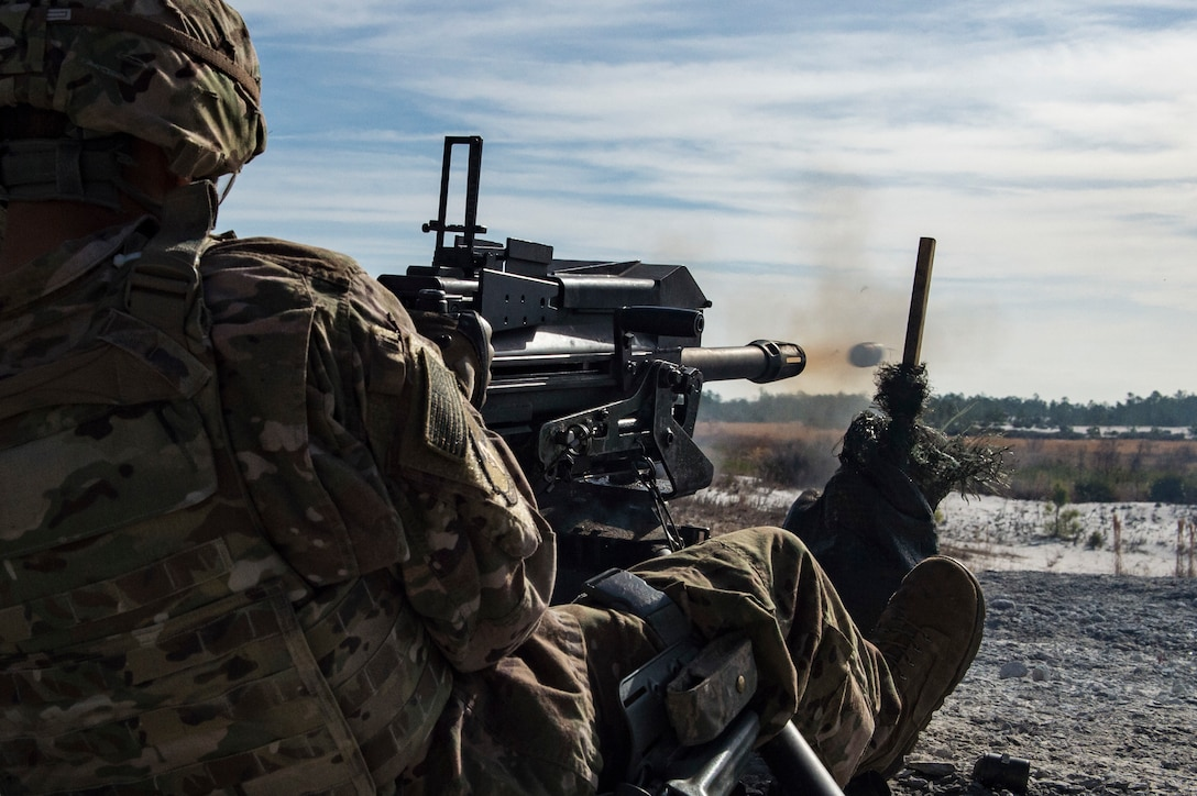 An Airman from the 824th Base Defense Squadron, fires a Mark 19 40mm grenade machine gun, Jan. 26, 2018, at Camp Blanding Joint Training Center, Fla. The Airmen traveled to Blanding to participate in Weapons Week where they qualified on heavy weapons ranging from the M249 light machine gun to the M18 Claymore mine. (U.S. Air Force photo by Senior Airman Janiqua P. Robinson)
