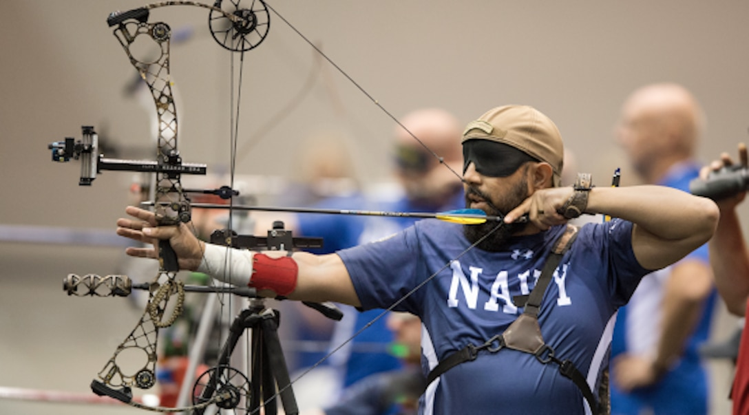 Warrior Games Athlete and Navy veteran, Petty Officer 2nd Class A.J. Mohammad, competes in an archery competition during the 2017 Warrior Games. Archery is one of 11 sports featured during the 2018 Department of Defense Warrior Games at the Air Force Academy from June 2 - 9. (DoD photo by EJ Hersom)