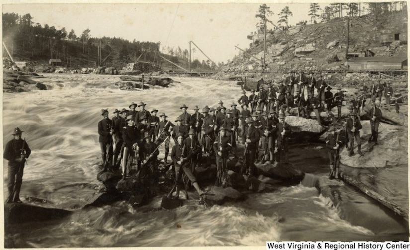 A photo of Company B, First West Virginia Infantry, commanded by Capt. John B. White, at the Chattahootchee River in Columbus, Ga., in 1898. The unit was training in Georgia during the Spanish-American War. Photo courtesy of West Virginia University's West Virginia and Regional History Center