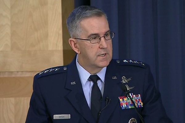 Air Force Gen. John E. Hyten, commander of U.S. Strategic Command, hosts a seminar at National Defense University's Center for the Study of Weapons of Mass Destruction in Washington, D.C., , Feb 16, 2017.