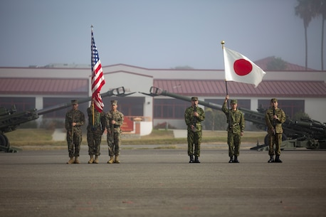 MARINE CORPS BASE CAMP PENDLETON, Calif. – Marines with 1st Battalion, 4th Marines, 1st Marine Division and Western Army Infantry Regiment, Japan Ground Self Defense Force stand in formation as part of the Exercise Iron Fist 2018 opening ceremony on Jan. 12. Exercise Iron Fist is a five-week-long exercise focusing on advanced marksmanship, amphibious reconnaissance, fire and maneuver assaults, staff planning, logistical support, medical knowledge sharing, fire support operations, including mortars, artillery and close air support, and amphibious landing operations. (U.S. Marine Corps photo by Cpl. Jacob A. Farbo)