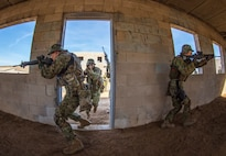 MARINE CORPS BASE CAMP PENDLETON, Calif. - Soldiers with the Western Army Infantry Regiment, Japan Ground Self Defense Force, enter a building from a stack formation during Military Operations on Urban Terrain training during exercise Iron Fist 2018, Jan. 17. When clearing a building, team members work together to maximize their deadly force while protecting each other. Iron Fist is an annual, bilateral training exercise held in Southern California between the U.S. Marine Corps and the JGSDF.