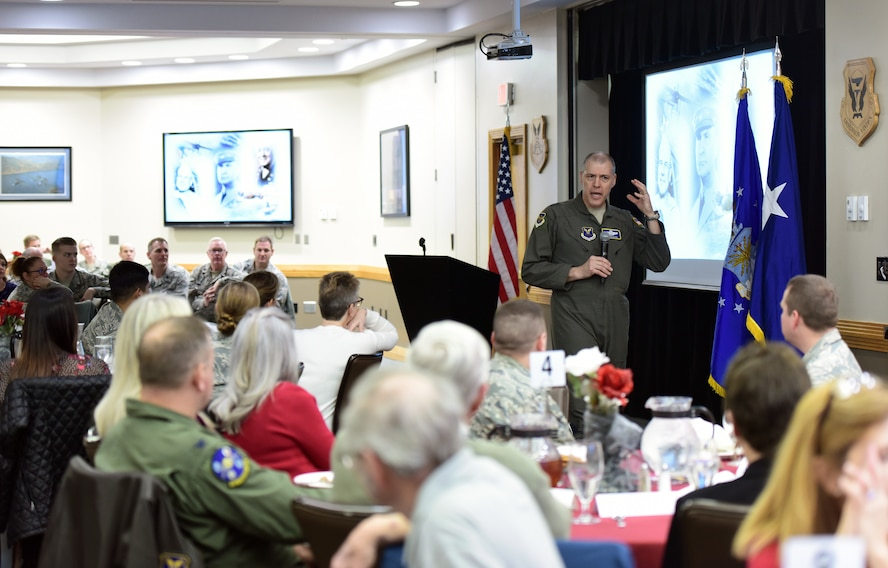 U.S. Air Force Maj. Gen. Thomas Bussiere, commander of the 8th Air Force, speaks with members of the Whiteman Base Community Council during their the monthly luncheon at Whiteman Air Force Base, Mo., Feb. 14, 2018.