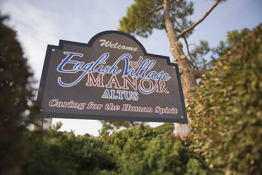 A welcome sign stands outside English Village Manor, Feb. 14, 2018, in Altus, Okla.