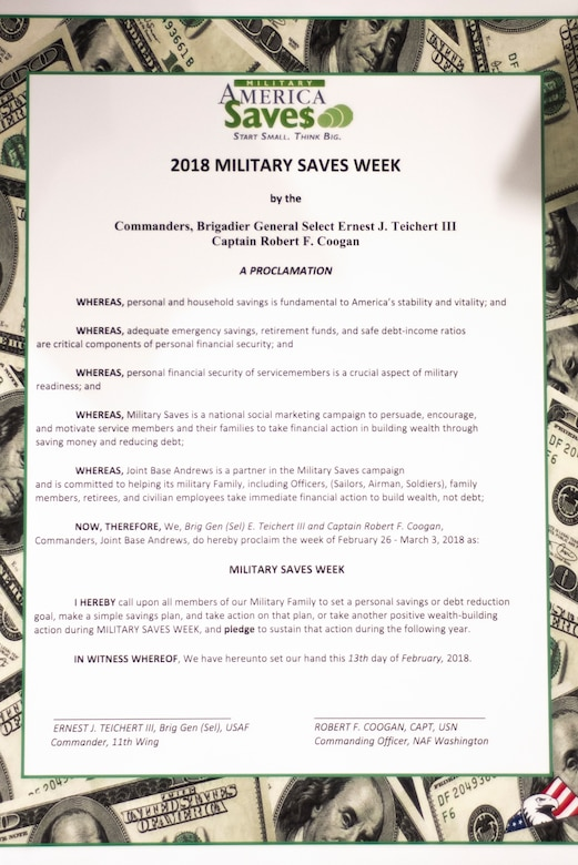 Military Saves Week Proclamation Signing
