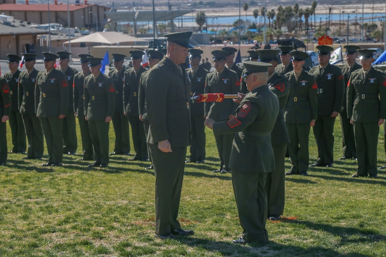 "The guidon of D Company ""Dragoons"", 3rd Light Armored Reconnaissance Battalion, is officially retired during the deactivation ceremony aboard the Marine Corps Air Ground Combat Center, Twentynine Palms, Calif., Feb. 09, 2018. D Company was deactivated by order of the Commandant of the Marine Corps after 32 years of service. (U.S. Marine Corps photo by Lance Cpl. Preston L. Morris)"