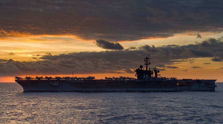 The Nimitz-class aircraft carrier USS Carl Vinson (CVN 70) transits the South Chna Sea. The Carl Vinson Strike Group is currently operating in the Western Pacific as part of a regularly schedule deployment.