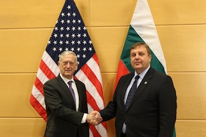 Defense Secretary James N. Mattis greets Bulgarian Defense Minister Krasimir Karakachanov.